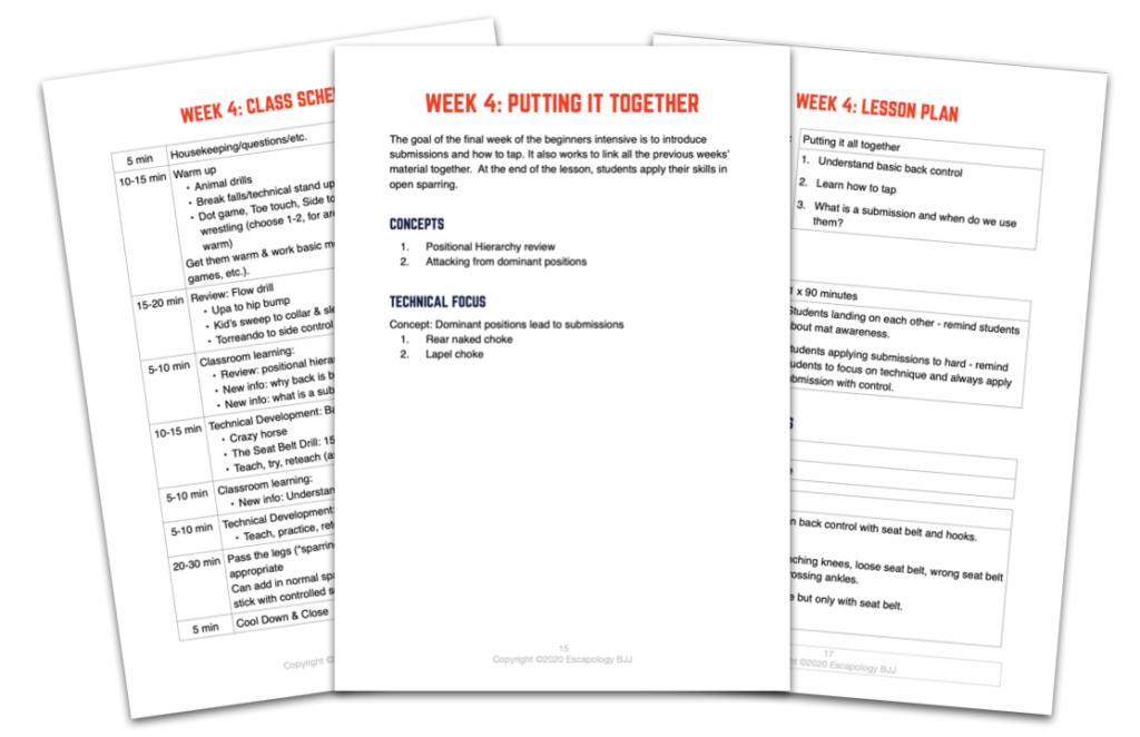 Beginners' BJJ Intensive Class Plan example